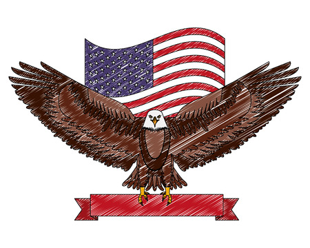 american eagle flag national red ribbon symbol vector illustration drawing  イラスト・ベクター素材