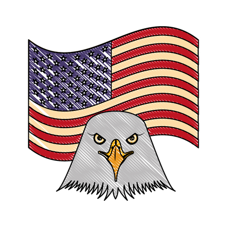 american head eagle flag national emblem vector illustration drawing