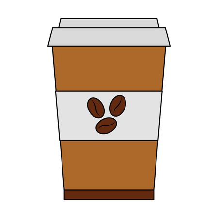 coffee cup in plastic container vector illustration design