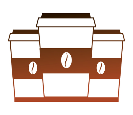 set coffee cups in plastic containers vector illustration design