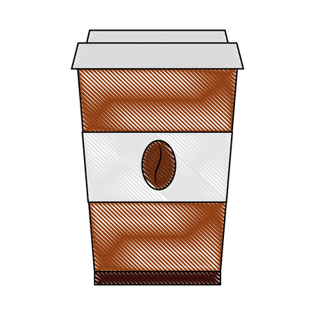 coffee in takeaway cup seeds image vector illustration drawing Ilustração
