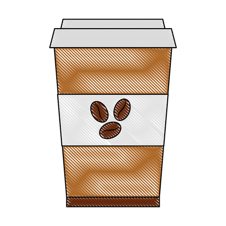 coffee in takeaway cup seeds image vector illustration drawing 向量圖像
