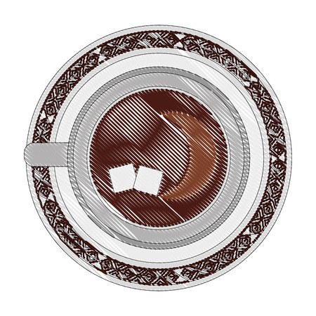top view coffee cup sugar cubes on dish vector illustration drawing Stock Illustratie