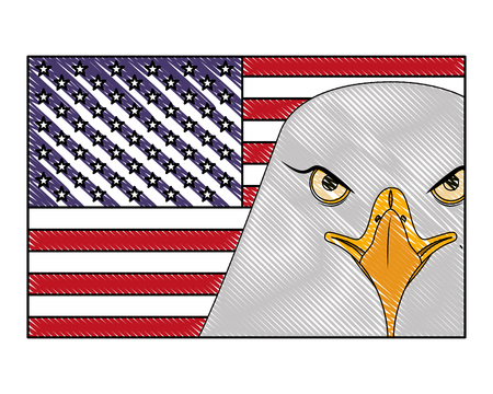 american head eagle flag national symbol vector illustration drawing