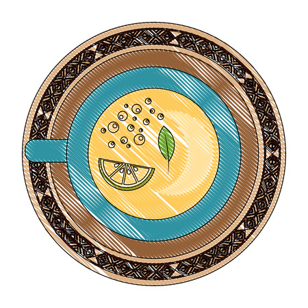 top view tea cup slice lemon beverage vector illustration drawing