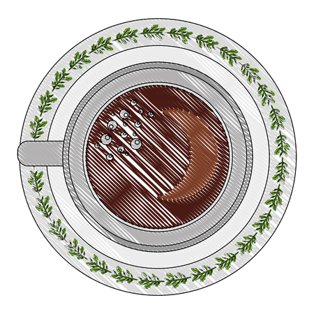 top view coffee cup on dish vector illustration drawing Illustration