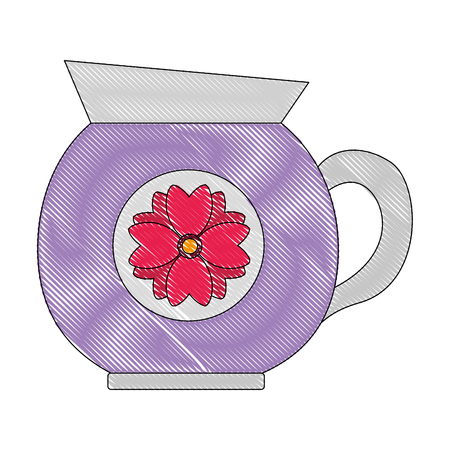 coffee maker ceramic flower decoration vector illustration drawing