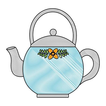 teapot ceramic kitchen image design vector illustration drawing Stock Vector - 102917315