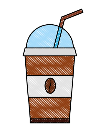 coffee in takeaway cup seeds image vector illustration drawing Иллюстрация