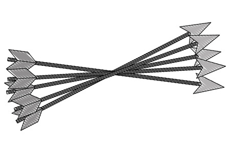 crossed arrows weapon ancient image vector illustration drawing