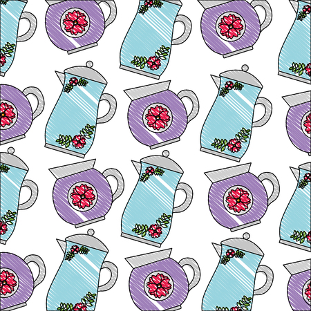 decorative coffee makers flower ceramic pattern vector illustration drawing Stock Vector - 102917379