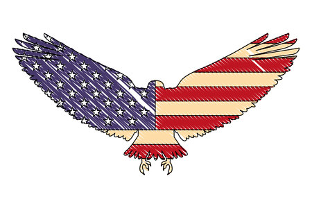 united states of america flag in eagle silhouette vector illustration drawing