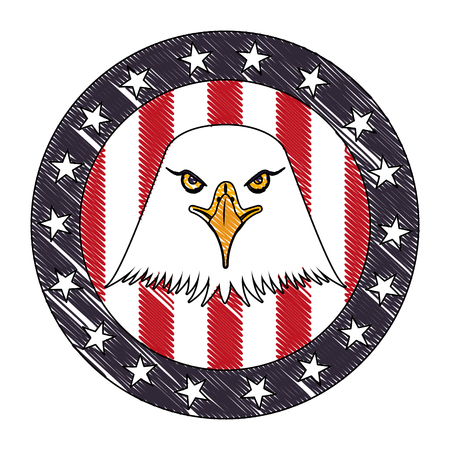 american eagle usa flag emblem vector illustration drawing Illustration