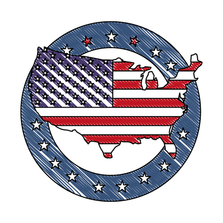 united states of america flag in map and stars vector illustration drawing Illustration