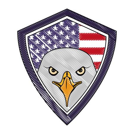 american eagle usa flag shield emblem vector illustration drawing