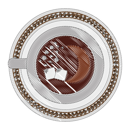 top view coffee cup sugar cubes on dish vector illustration drawing Illustration