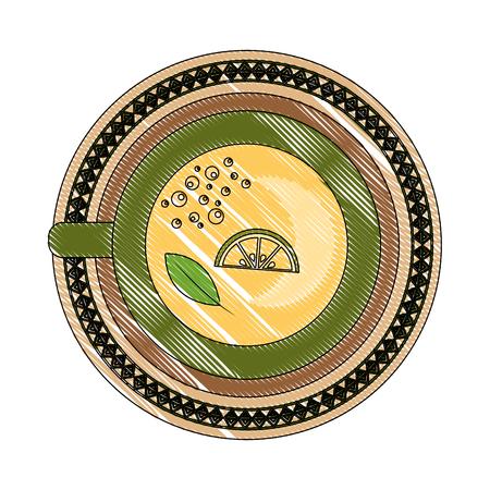 top view tea cup slice lemon beverage vector illustration drawing