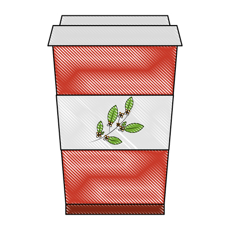 disposable paper cup with tea aromatic beverage vector illustration drawing