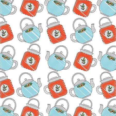 teapot ceramic kitchenware utensil pattern vector illustration Vector Illustratie