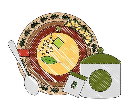 top view tea cup slice lemon sugar spoon vector illustration drawing