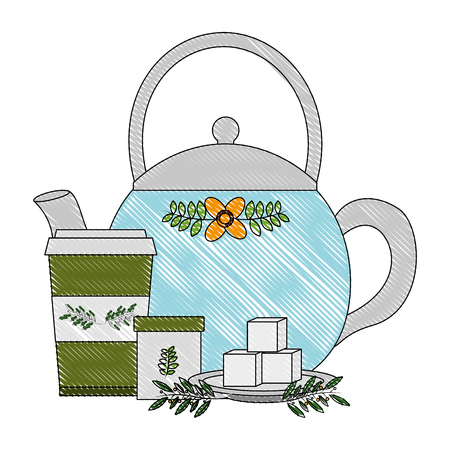 teapot ceramic paper cup tea sugar cubes and leaves vector illustration drawing Çizim