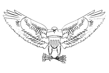 american eagle with ribbon shield branch and arrows vector illustration sketch