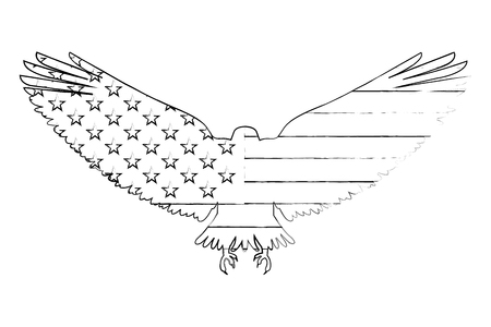 united states of america flag in eagle silhouette vector illustration sketch
