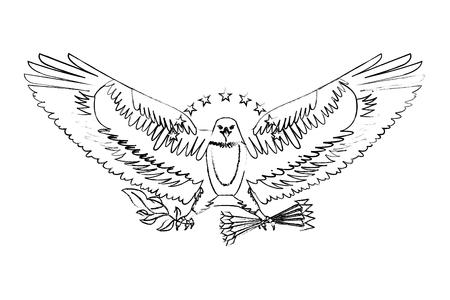 american eagle spread wings with stars arrows and branch vector illustration sketch