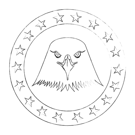 american eagle usa flag emblem vector illustration sketch Illustration