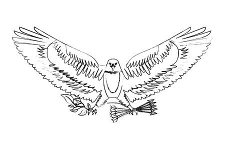 american eagle spread wings with arrows vector illustration sketch Illustration