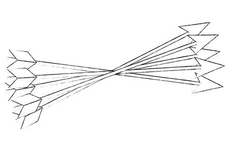 crossed arrows weapon ancient image vector illustration sketch