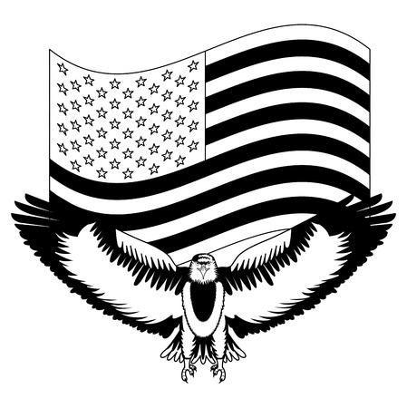 American Bald Eagle Emblem With Usa Flag Vector Illustration