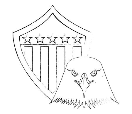 american eagle usa flag shield emblem vector illustration sketch Illusztráció