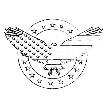 american eagle usa flag emblem label decoration vector illustration sketch Ilustrace