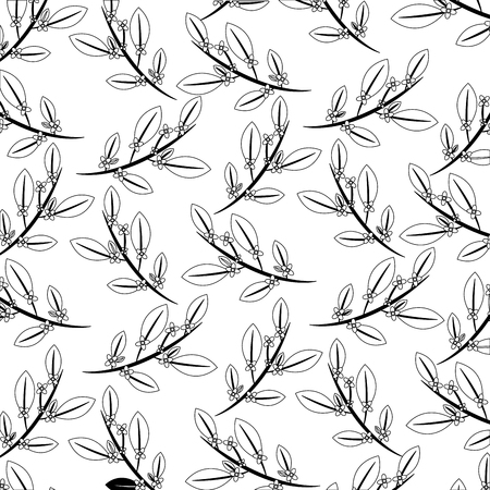 branch with leafs and flowers pattern vector illustration design