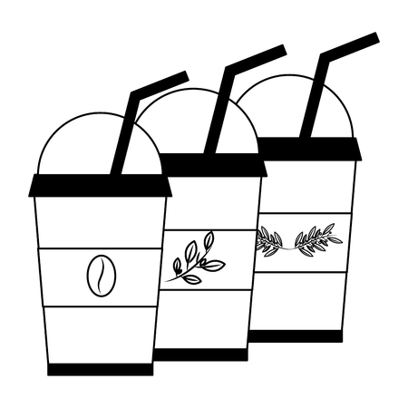 set iced herbs tea cup with coffee in plastic container vector illustration design