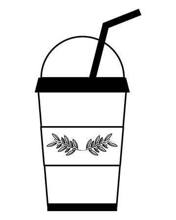 iced herbs tea cup in plastic container vector illustration design