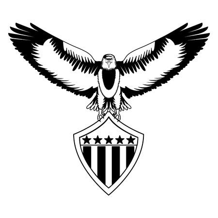 american bald eagle shield vector illustration design 向量圖像