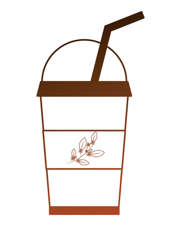 disposable paper cup with tea aromatic beverage vector illustration Иллюстрация