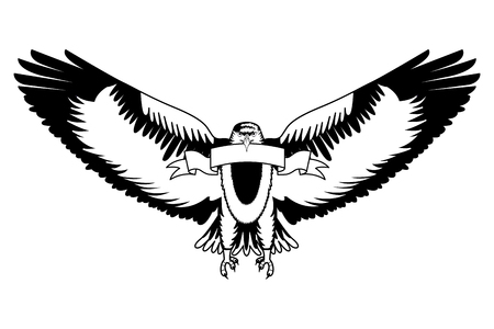 American Bald Eagle Emblem With Ribbon Vector Illustration Design