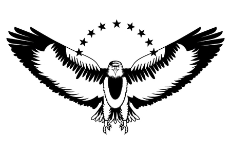 american bald eagle with stars vector illustration design Vettoriali