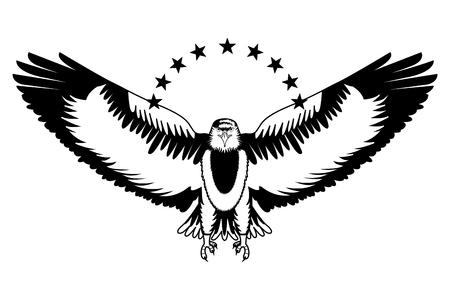 american bald eagle with stars vector illustration design Illustration