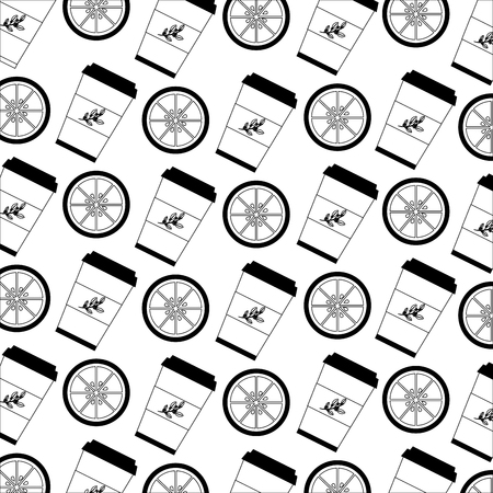 set herbs tea cups in plastic containers pattern vector illustration design