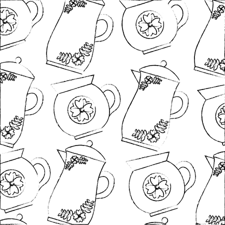 decorative coffee makers flower ceramic pattern vector illustration