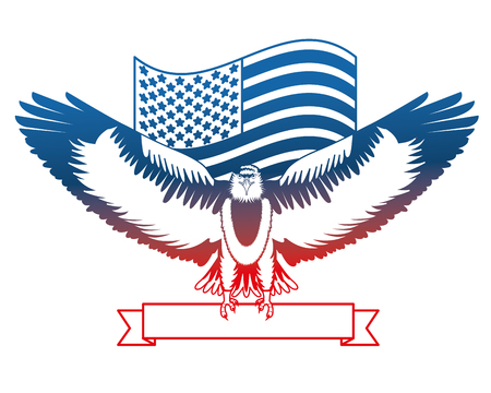 american eagle flag national ribbon symbol vector illustration