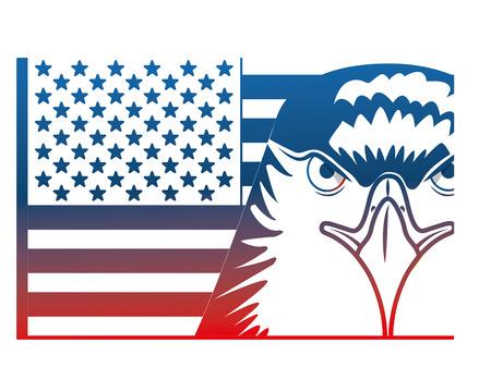 american head eagle flag national symbol vector illustration Stock Vector - 102922547