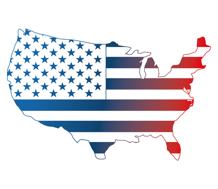 american eagle flag and usa map national symbol vector illustration