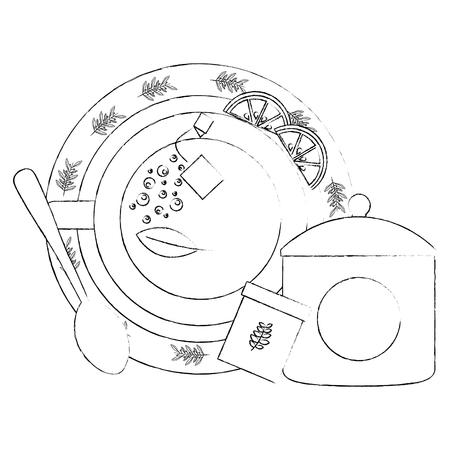 top view tea cup slice lemon sugar spoon vector illustration