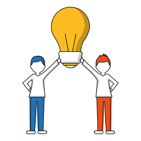 people holding together bulb idea vector illustration