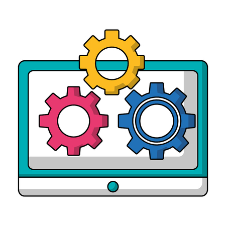 tablet computer and setting gears teamwork vector illustration Ilustrace